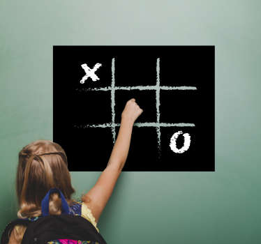 Bring this ancient game onto the walls of your home with this noughts and crosses blackboard wall sticker. Choose from a variety of sizes!