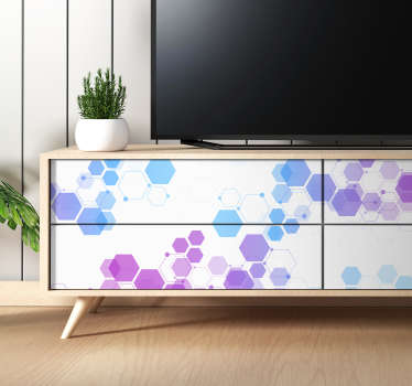 Decorative geometric shape furniture sticker for drawers, cabinet. tables, and wardrobe in the home. Easy to apply and available in any required size.