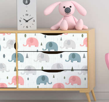 Decorative furniture sticker for kids with the design of elephant print  to wrap the surface of cabinets, tables, wardrobe and tables in bedroom.
