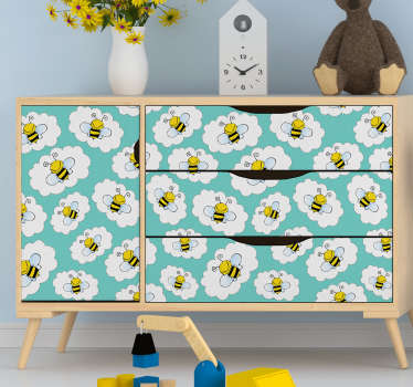 Beautiful furniture sticker with the design of bees and cloud to decorate the cabinet, wardrobes and tables of children room. Easy to apply.