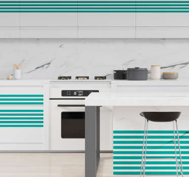 Horizontal lines furniture sticker to decorate cabinet and drawer surface in the home. Available in  any desired size and easy to apply.