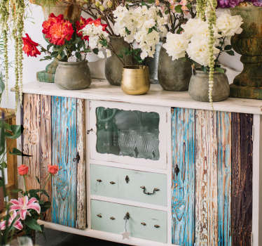 Muurstickers slaapkamer blauw geschilderd hout