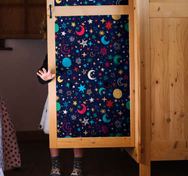 This furniture sticker represents several stars, planets and moons, to give the illusion of a beautiful galaxy in the bedroom of your children