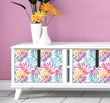 For an original furniture vinyl sticker, this drawing sticker representing watercolored leaves will fit perfectly any type of furniture.