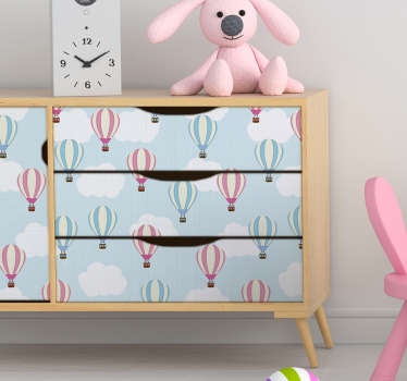 Do you want an original sticker for kids ? This furniture vinyl of several drawings of clouds and balloons will bring a peacefull atmosphere.