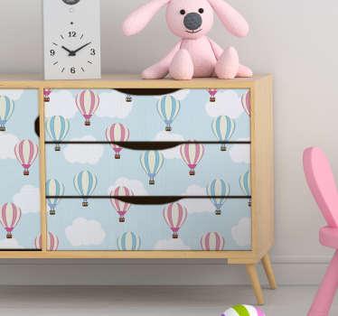 파란색과 분홍색 풍선 가구 스티커