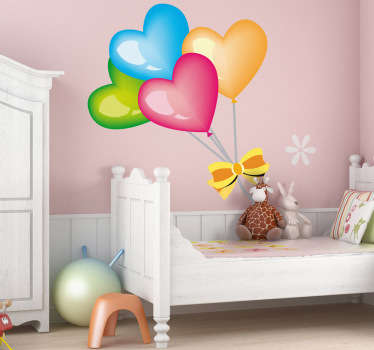 A bright and vibrant design of a bunch of heart shaped balloons! Colourful heart wall sticker to give your children's bedroom the ideal atmosphere. If you are not convinced but still would love a decal then make sure you check the rest of design form our collection of heart wall stickers!