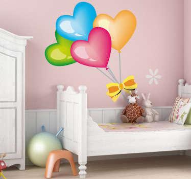Farget hjerte ballonger kids klistremerke