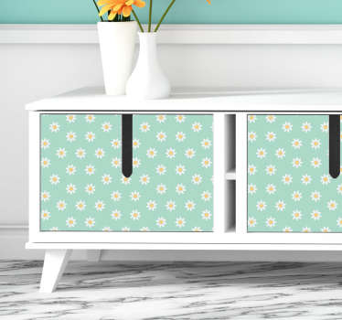 With the arrival of the season of Spring, it is a great idea to decorate your interior with a flower sticker of daisy flowers designed for furnitures.