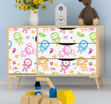 Decorative furniture sticker with illustrative animated kids print. Available in any required size. Easy to apply and self adhesive.