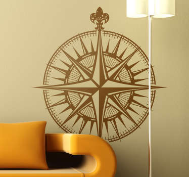 A compass wall sticker from our collection of nautical wall stickers to give your home a touch of originality. If you love travelling or sailing then this is the ideal compass decal that will give your home a new atmosphere.