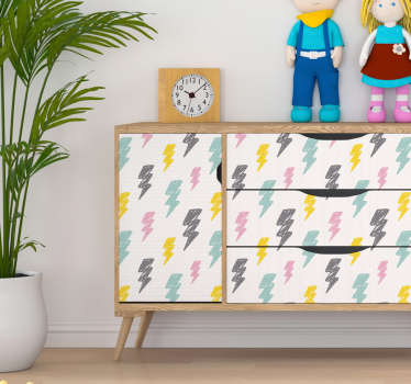 To decorate your kids bedroom, a kids bedroom sticker like these colourful storm patterns will fit perfectly their furnitures !