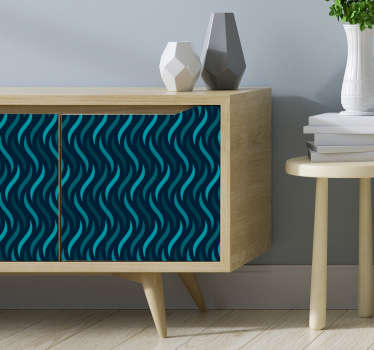 Meubelstickers blauw golven patroon