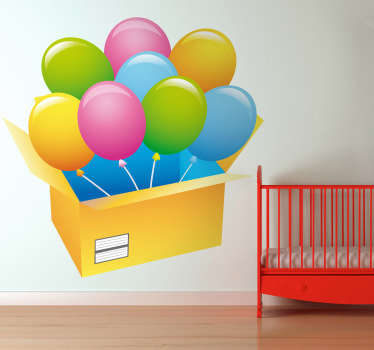 Kids Stickers - Bright and vibrant design of a bunch of balloons springing out of a box.