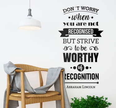 Add some motivational decor to your home, courtesy of this fantastic wall quote sticker from Abraham Lincoln! Choose your size.