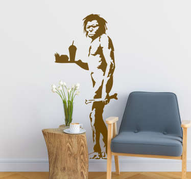 Decorate your home with this fantastic Banksy inspired wall sticker, depicting a caveman with some fast food! Zero residue upon removal.