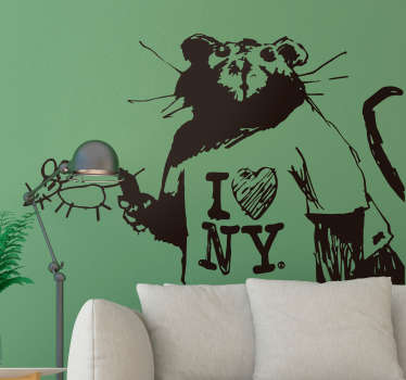 Pay tribute to the wonderful art of Banksy with this superb wall art sticker, depicting his famous rat painting! Sign up for 10% off.