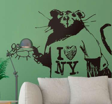 Muurstickers kunst I love NY Bansky ontwerp