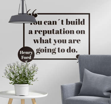 A reputation is always built on actions, not words, which is why this wall text sticker is so salient! Personalized stickers.