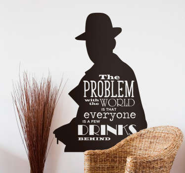 Add Humphrey Bogart´s legendary sense of humour to your wall with this fantastic silhouette vinyl sticker! Extremely long-lasting material.