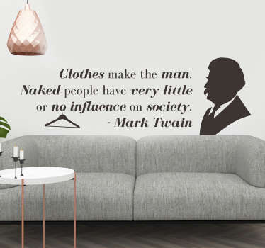 Mark Twain Clothes Wall Quote Sticker