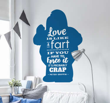 Make your visitors think about love - While also laughing - with this eye-catching and fantastic wall text sticker! Personalised stickers.