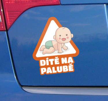 Dítě v autě dítě na palubě štítku