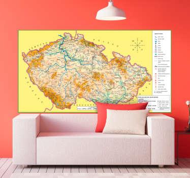 Mapa czechia nástěnná nálepka