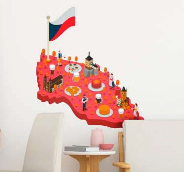 Mapa česká republika obývací pokoj zeď výzdoba