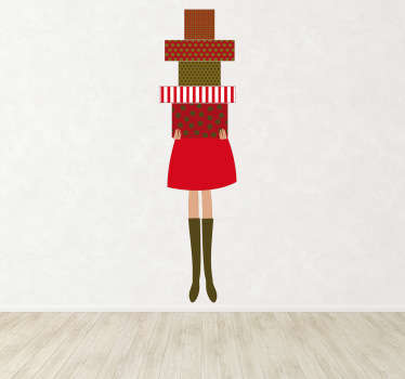 Seasonal Stickers - illustration of a women hidden behind a pile of wrapped presents. Ideal for decorating your business.