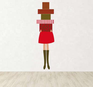 Sticker vrouw met stapel cadeaus