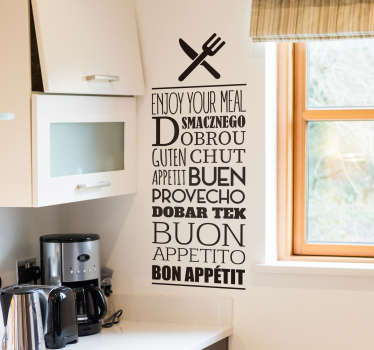 Decorate your kitchen with this superbly welcoming and multilingual kitchen sticker, perfect for all homes! Extremely long-lasting material.