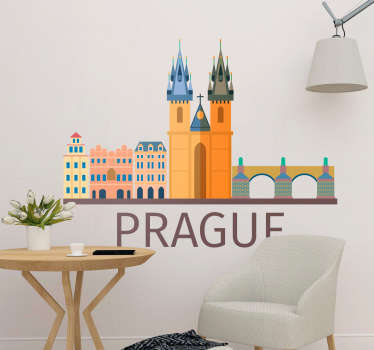 Prague Skyline Colour Wall Sticker