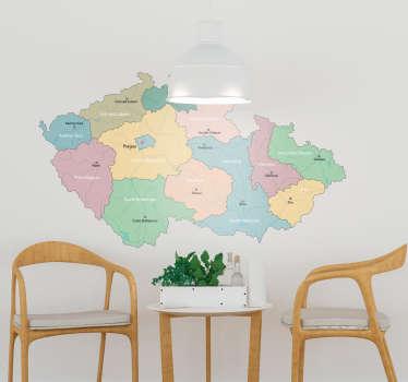 Regiony české republiky domácí nástěnná samolepka