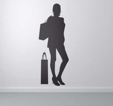Business Stickers - Silhouette illustration of a young female with her shopping bags. Personalised stickers. High quality.