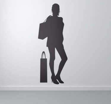 Sticker silhouet dame winkelen