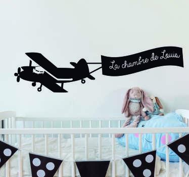 Sticker Illustration Avion avec Prénom