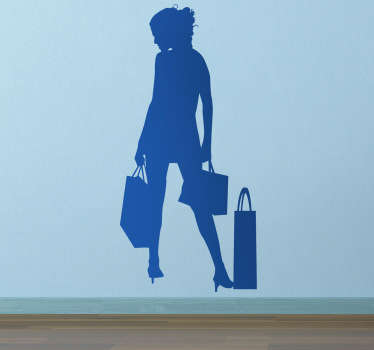 Business Stickers - illustration of a young woman with her shopping bags. Ideal for decorating retail boutiques.