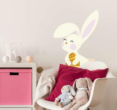 Vinilo pared conejo de Pascua con huevo