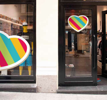 Sticker vitrine coeur multicolore