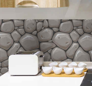 Muurstickers keuken grijze bakstenen