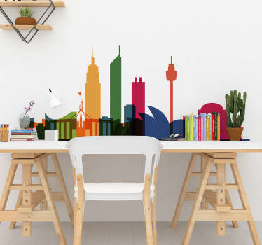 Skyline wall sticker of Australia with features of towers and building in colorful appearance.  Available in any required size.