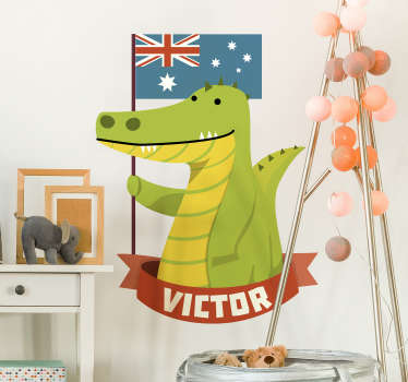 Personalisable name wall sticker with a cartoon crocodile holing an Australian flag. Provide the required name and choose it in any size of choice.