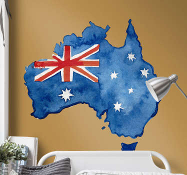 Australian map wall sticker with watercolor background and a flag. Available in any desires size. Easy to apply and self adhesive.