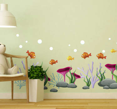 Decorative marine theme wall sticker with the design of under water sea plants and fishes in amazing colour. Easy to apply and available in any size.
