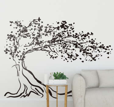 Room Stickers - Silhouette illustration of a tree in the wind. Simple and original design great for decorating.