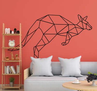Decorative abstract line wall sticker of a kangaroo. Available in different colours and sizes. Easy to apply and self adhesive.