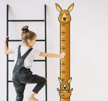 Height chart wall sticker for children room with a kangaroo design. A well calibrated height meter with an easy application.
