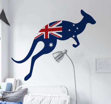 Decorative animal wall sticker with a kangaroo design and the British union jack flag. Available in any desired size and highly adhesive.
