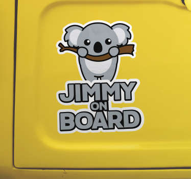 Personalizable name baby on board car vinyl decal with a koala design. Provide a desired name for the design and choose any size of preference.